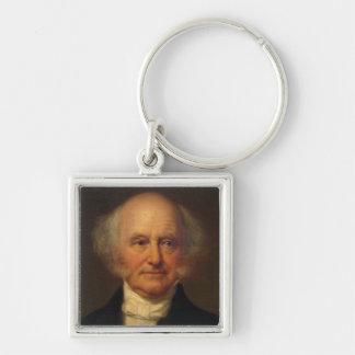 8vo presidente de Martin Van Buren Llavero Cuadrado Plateado