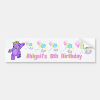 8vo Princesa púrpura Bear de la fiesta de cumpleañ Pegatina De Parachoque