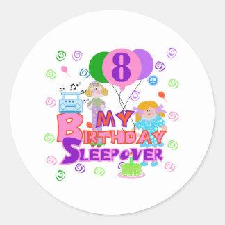 8vo Sleepover del cumpleaños Etiquetas Redondas