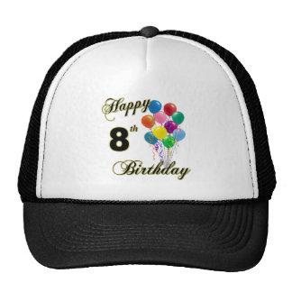 8vos casquillos del cumpleaños y gorras de béisbol
