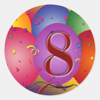 ¡8vos globos felices del cumpleaños! pegatina redonda