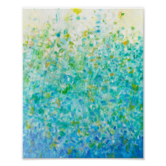 8x10 Abstract Turquoise Blue Light Yellow Print