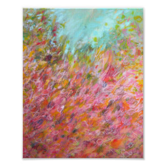 8x10 Abstract Turquoise Pink Green Painting Print