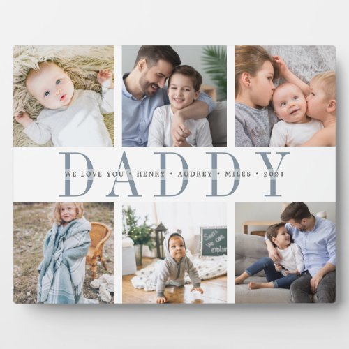 8x10 Daddy Fathers Day Kids Photo Collage Plaque