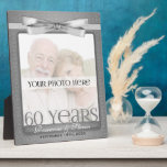 """8x10 Diamond 60th Wedding Anniversary Photo Frame<br><div class=""""desc"""">Lovely gift for the diamond anniversary couple. Add a recent photo or wedding photo,  their names and the date of their 60th Wedding Anniversary. Done in an elegant silver print and bow. Great anniversary gift.</div>"""