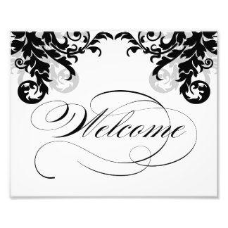 8x10 Flourish Wedding Welcome Sign for Framing Photo Print