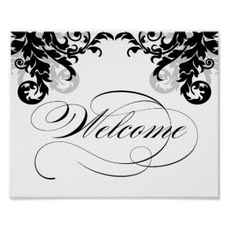 8x10 Flourish Wedding Welcome Sign for Framining Posters