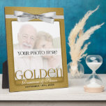 """8x10 Golden 50th Wedding Anniversary Photo Frame<br><div class=""""desc"""">Lovely gift for the golden anniversary couple. Add a recent photo or wedding photo,  their names and the date of their 50th Wedding Anniversary. Done in an elegant gold print and silver bow,  the colors for a golden wedding anniversary. Great anniversary gift. Also available as a 5x7.</div>"""
