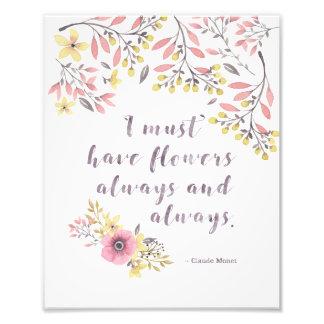 8x10 impresión - cita de Monet sobre las flores Fotografía