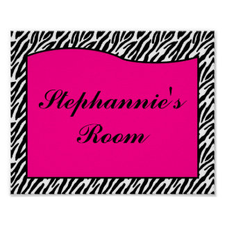 8x10 Name Wall Art Hot Pink Zebra Animal Print