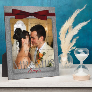 8x10 Red and Silver Mr and Mrs Wedding Photo Plaque