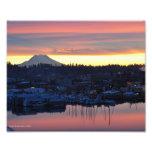 8X10 Sunrise on Mount Rainier and Puget Sound Photograph