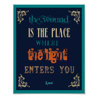 8x10 Typography Rumi Quote - The   Light Poster