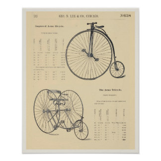 8X10 Vintage Bicycle Tricycle Catalog Page Poster