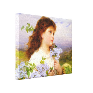 8x10 Vintage Girl with Lilacs 1875 Canvas Gallery Wrap Canvas