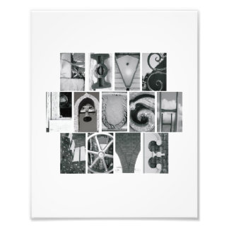 8x10 viven vertical del alfabeto B&W de la foto Cojinete