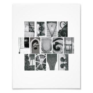8x10 viven vertical del alfabeto B&W de la foto de Cojinete