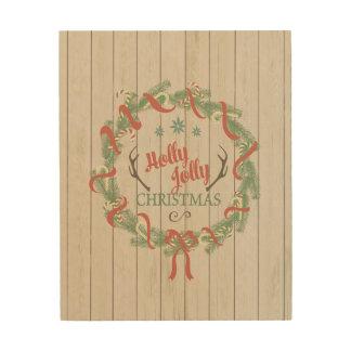 """8x10 Wood Canvas - """"Holly Jolly Christmas"""""""