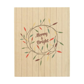 """8x10 Wood Canvas - """"Merry & Bright"""""""