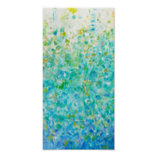 8x16 Abstract Turquoise Blue Light Yellow Print
