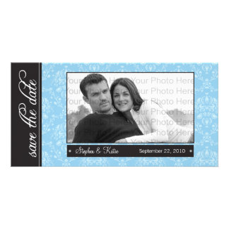 """8x4"""" Baroque Blue Save the Date Announcement"""