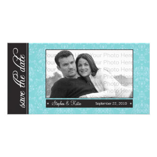 """8x4"""" Baroque Teal Save the Date Announcement"""
