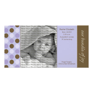 8x4 Birth Announcement Purple and Brown Polka Dots