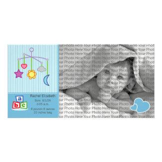 8x4 Birth Photo Announcement Blue Hearts