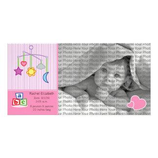 8x4 Birth Photo Announcement Pink Hearts
