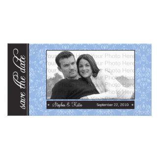 """8x4"""" Blue Baroque Save the Date Photo Announcement"""