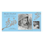8x4 Branch Design Birth Announcement Blue/Brown Photo Card