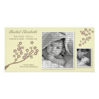 8x4 Branch Design Birth Announcement Khaki/Brown