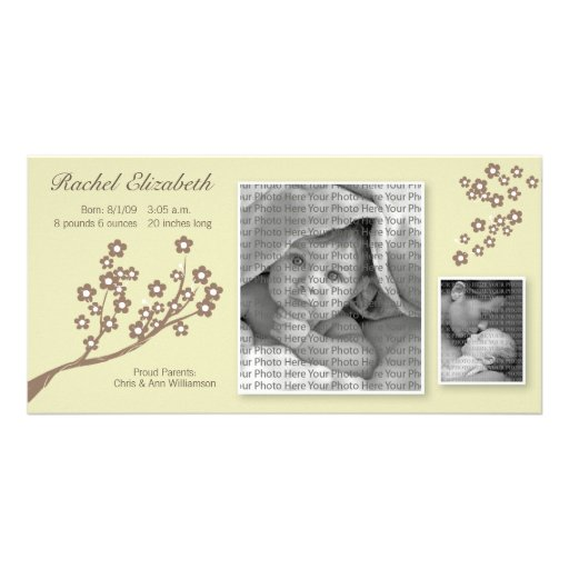8x4 Branch Design Birth Announcement Khaki/Brown Photo Card