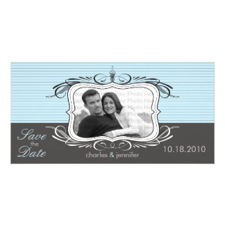 """8x4"""" Chic Deco Blue Save the Date Announcement"""