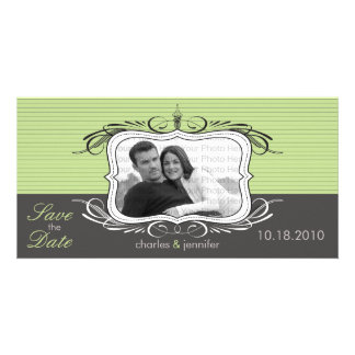 """8x4"""" Chic Deco Green Save the Date Announcement"""