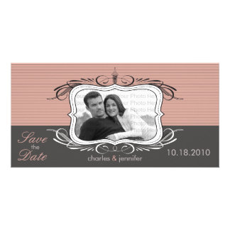 """8x4"""" Chic Deco Pink Save the Date Announcement"""