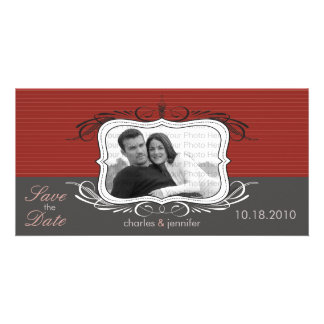 """8x4"""" Chic Deco Red Save the Date Announcement Photo Card"""
