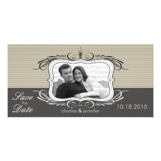 """8x4"""" Chic Deco Taupe Save the Date Announcement"""