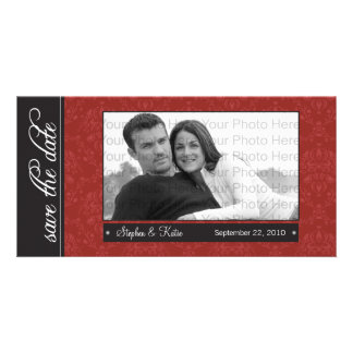 """8x4"""" Red Baroque Save the Date Photo Announcement"""