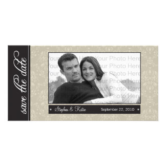"""8x4"""" Tan Baroque Save the Date Photo Announcement"""