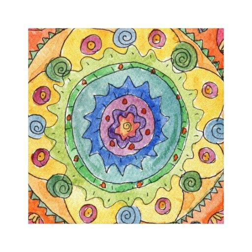 8x8 Rainbow Mandala Premium Stretched Canvas Print