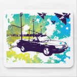 900 turbo convertible grunge mousepad  in blue