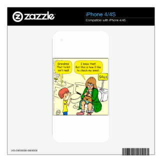 903 Grandma is checking email cartoon Skin For The iPhone 4