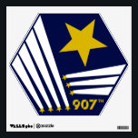 """907th crest Wall Cling (non-distressed) Wall Decal<br><div class=""""desc"""">Hanging in every barrack in the UEE! The 907th Wall cling! Pre-cut to a hex shape. Show your true colors while flying in your Mom&#39;s basement.</div>"""