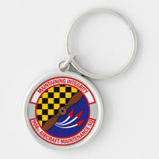 908th Aircraft Maintenance Squadron Silver-Colored Round Keychain