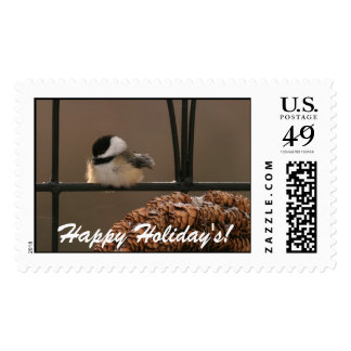 9097 Chick-a-dee Perched, Happy Holiday's! Postage