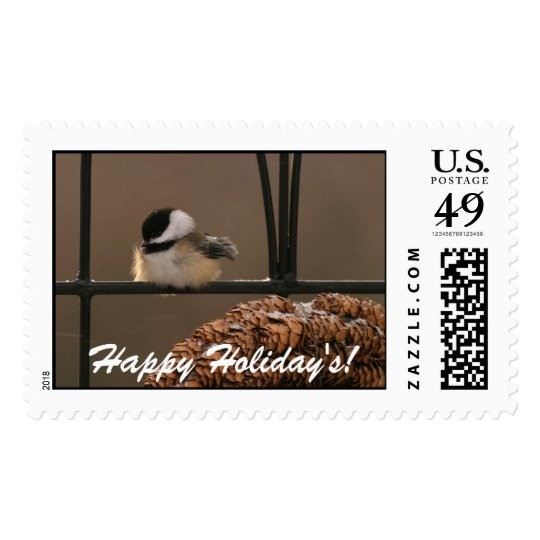 9097 Chick-a-dee Perched, Happy Holiday's! Postage Stamp