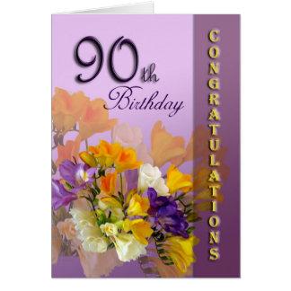 90.a enhorabuena del cumpleaños de los Freesias Tarjeta De Felicitación