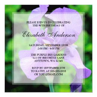 """90.a fiesta de cumpleaños de las flores púrpuras invitación 5.25"""" x 5.25"""""""