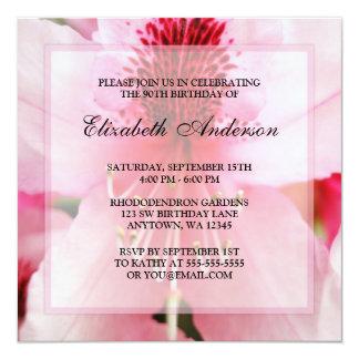 90.a fiesta de cumpleaños de las flores rosadas invitación